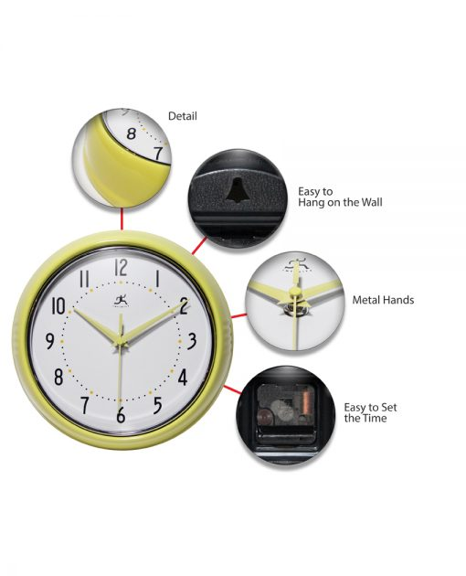 features of yellow retro wall clock 9 inch