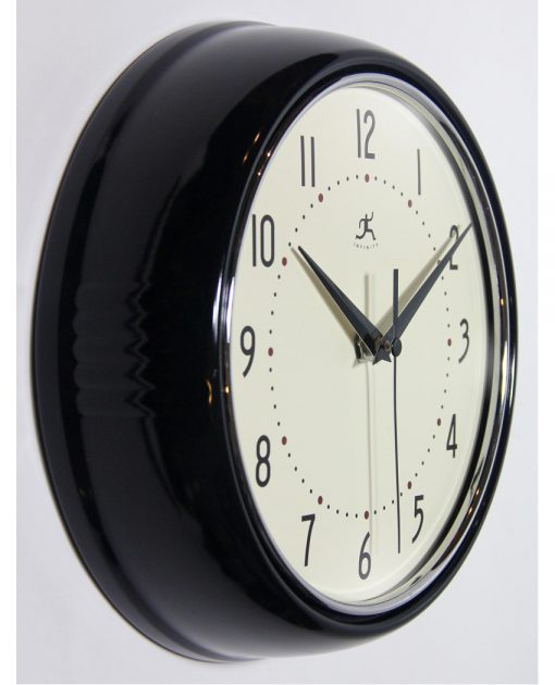 from right side black retro wall clock