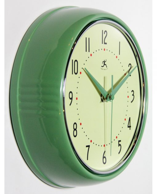 from right side retro green diner wall clock 9 inch