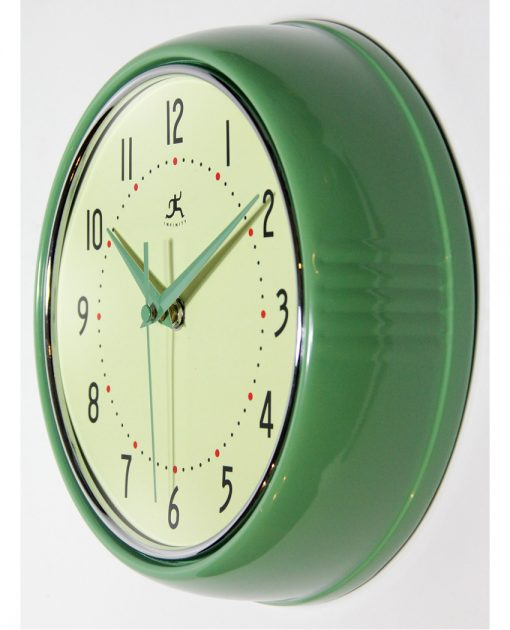 from left side retro green diner wall clock 9 inch