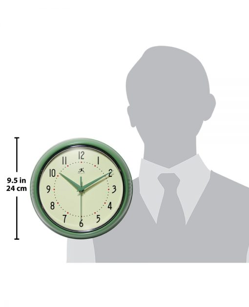 for scale retro green wall clock kitchen 9 inch
