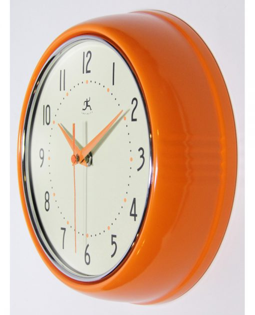 retro orange wall clock 9 inch circular round from left side