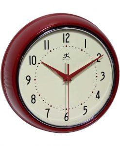 red retro wall clock 9 inch
