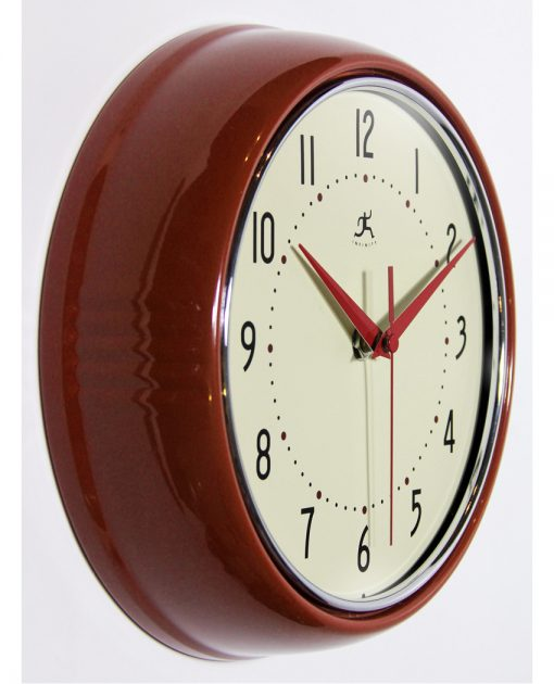 from right side retro red aluminum wall clock 9 inch