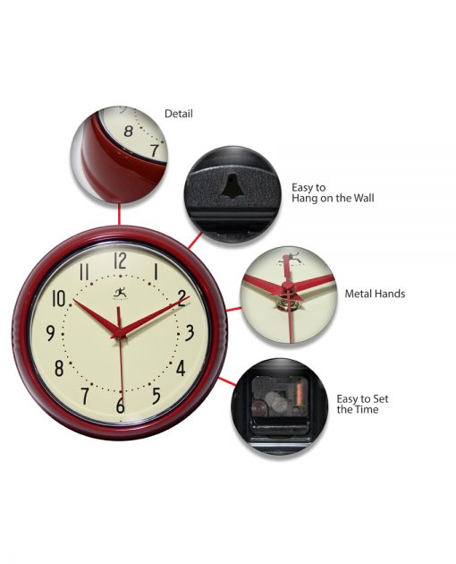 features of retro red wall clock 9 inch