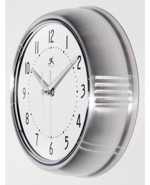 from left side retro silver wall clock 9 inch kitchen small