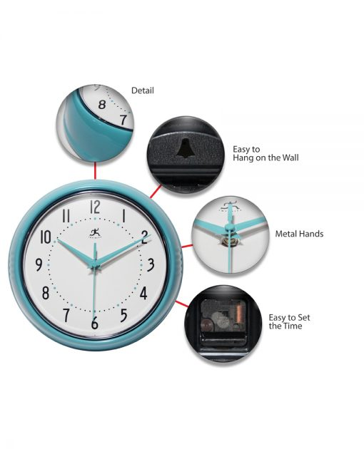 features of retro turquoise wall clock 9 inch