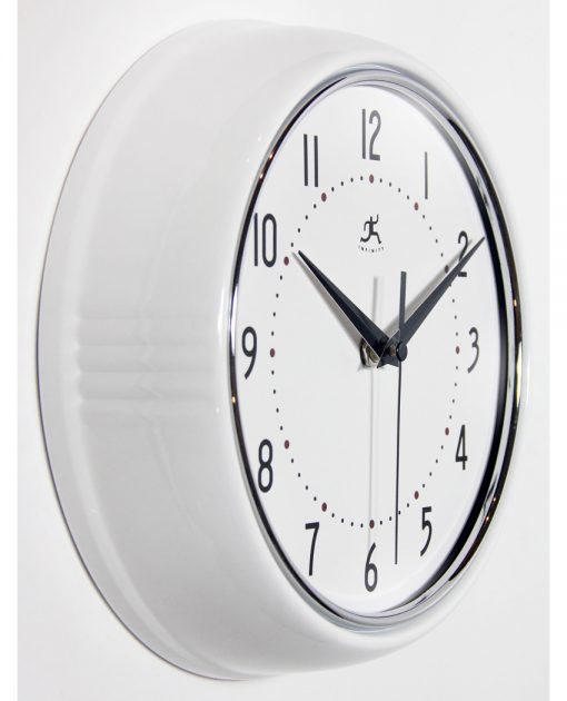 from right side retro white wall clock 9 inch