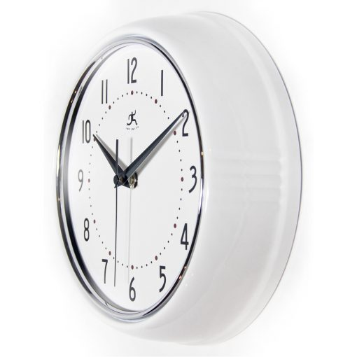 from left side retro white wall clock 9 inch