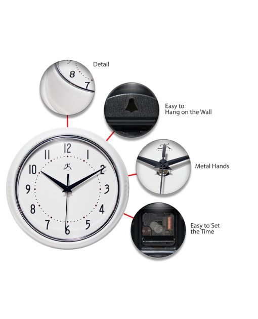 features of retro white clock 9 inch