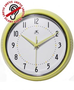 Yellow Round Retro Wall Clock kitchen