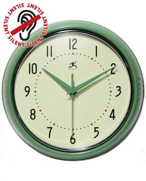 Green Retro Diner Wall Clock Round kitchen