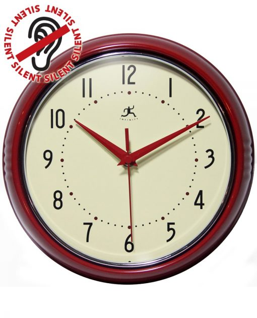 Red Round Retro Wall Clock kitchen