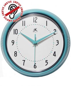 Turquoise Round Retro Wall Clock Vintage 1950s kitchen Turquoise Wall Clock