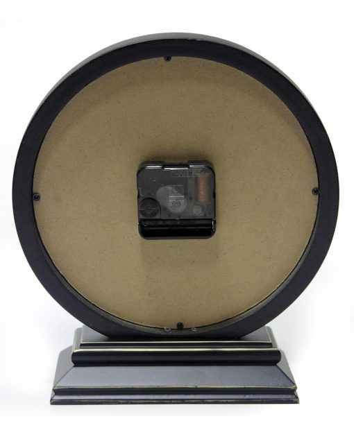 back of dais black wood tabletop clock 10 inch