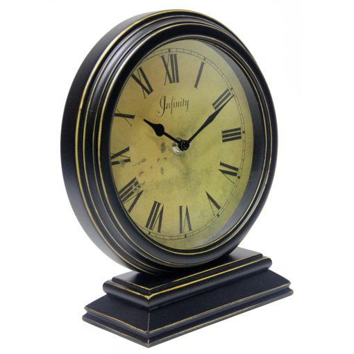 from right side dais black wood tabletop clock 10 inch