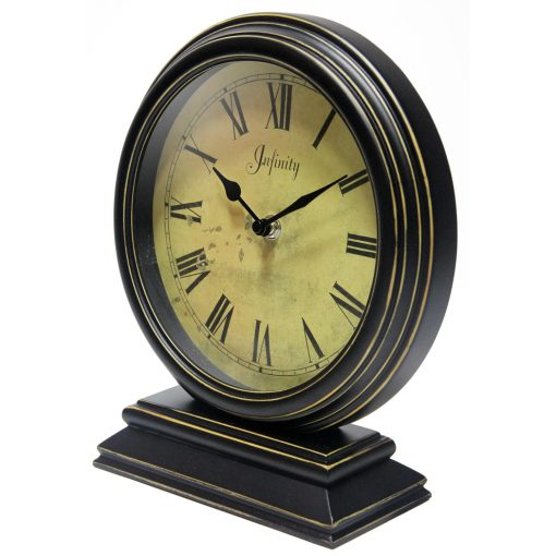 from left side dais black wood tabletop clock 10 inch