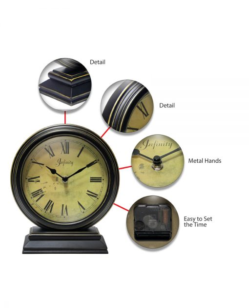 features of dais black wood tabletop clock small 10 inch