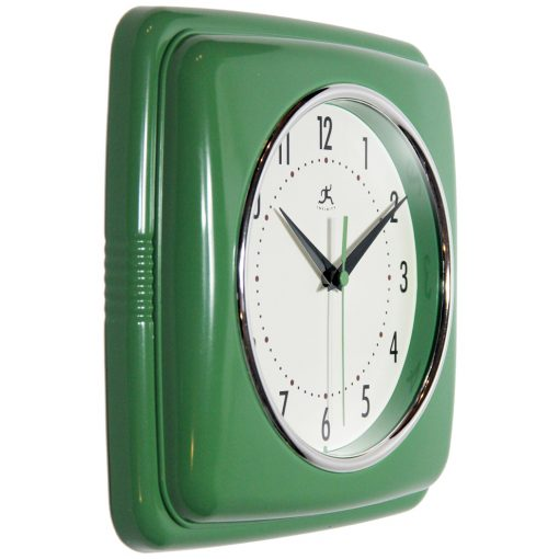 square green retro wall clock small kitchen from right side