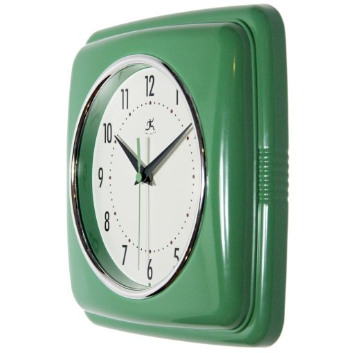 square retro green wall clock from left side