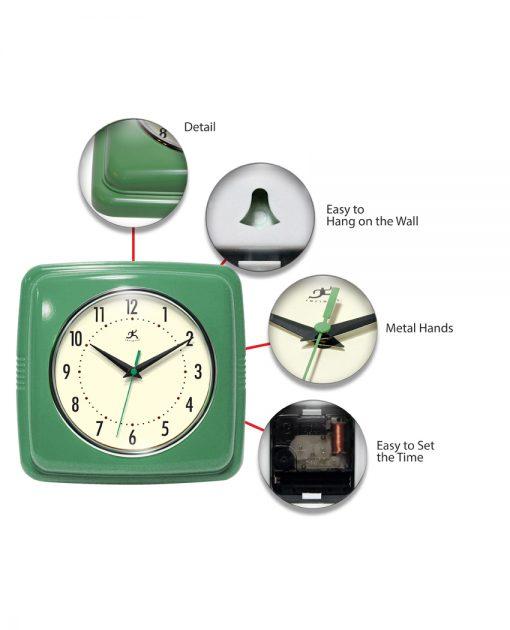 square green retro wall clock 9 inch