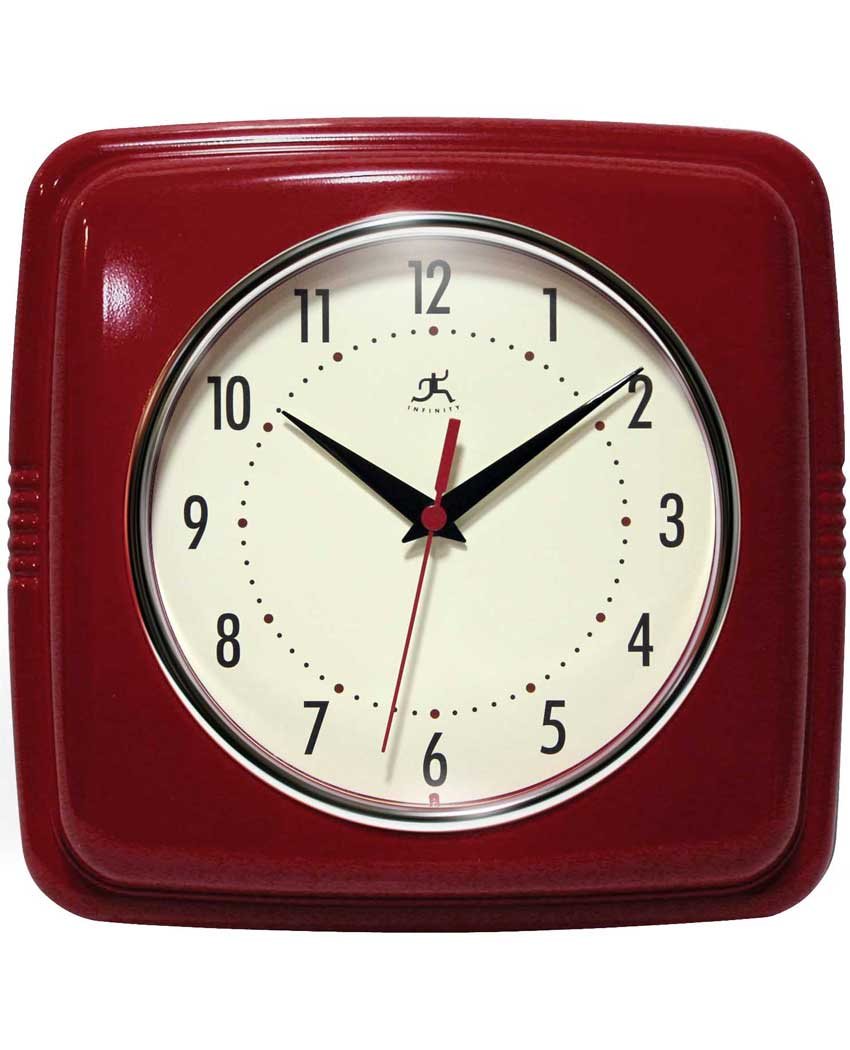 retro red wall clock 9 inch kitchen