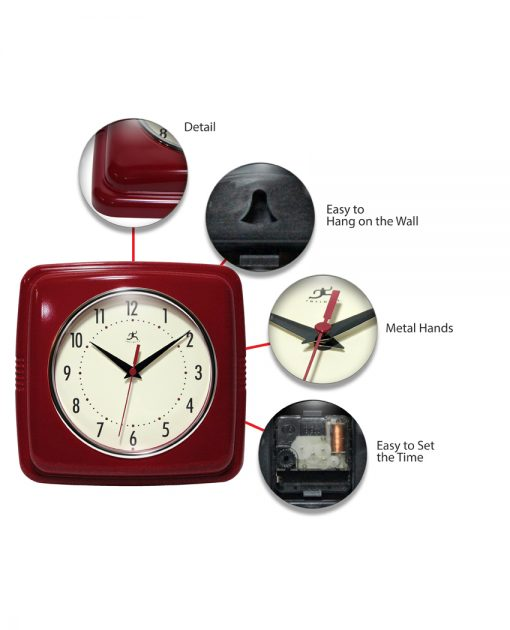 square red retro wall clock 9 inch old fashioned kitchen clock