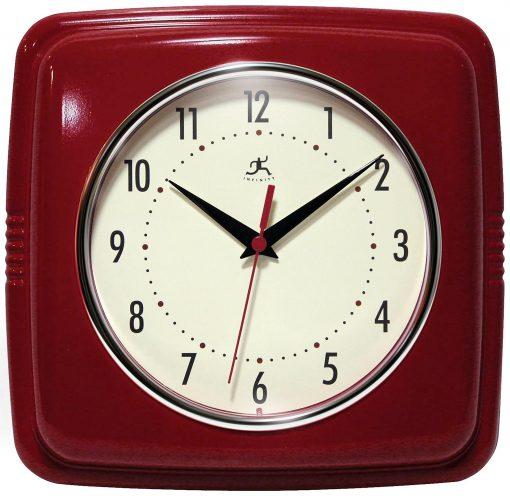 Square Retro Wall Clock Red kitchen