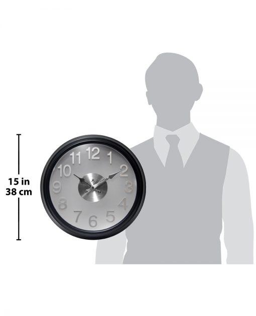 black office modern wall clock 15 inch