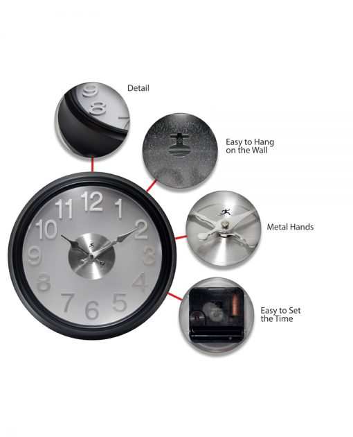 features of onyx black wall clock modern office 15 inch