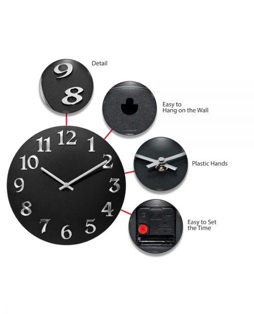 vogue black silver wall clock 12 inch