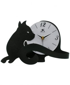 7 inch Cat Lovers Black Steel Tabletop Clock
