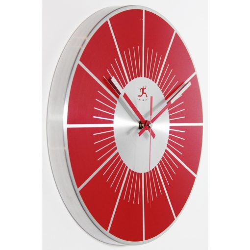 red wall clock from right side 12 inch
