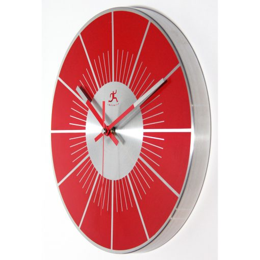 red wall clock from left side 12 inch