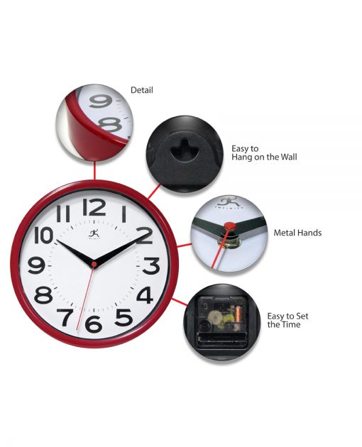 features of red metro wall clock basic 9 inch