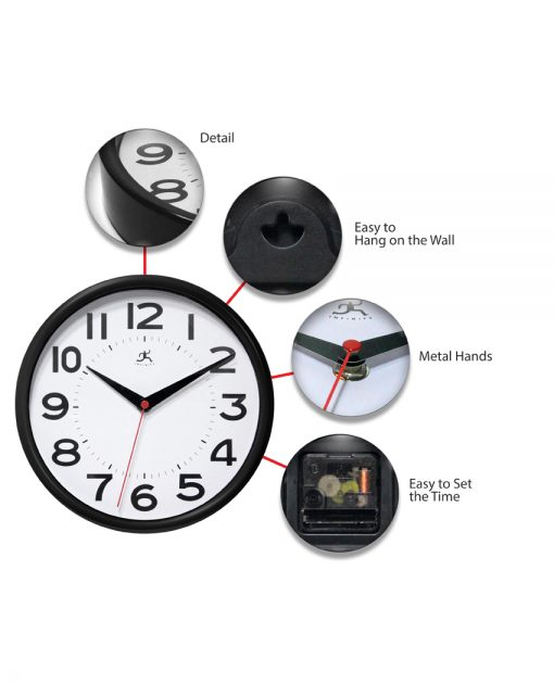 features of black metro wall clock 9 inch small basic