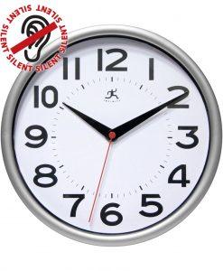 retro metro silver wall clock