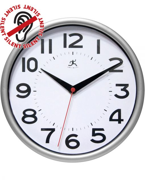 retro metro silver wall clock