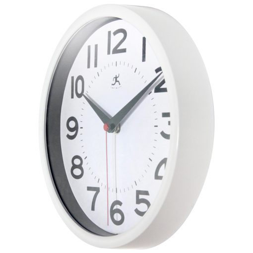 from left side 9 inch metro white wall clock standard numbers easy to read clean