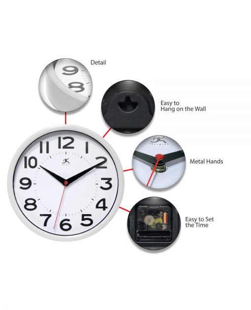 features of 9 inch metro white wall clock standard numbers