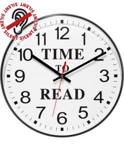 12 inch Time To Read Black Wall Clock