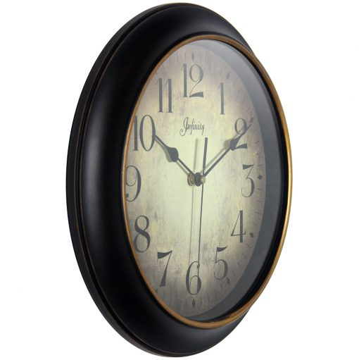 from right side precedent black wall clock 12 inch
