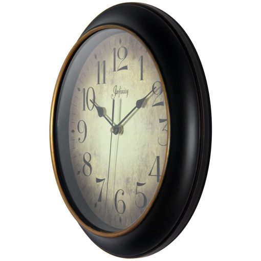 from left side precedent black wall clock 12 inch