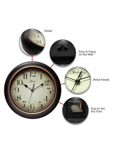 features of precedent black wall clock 12 inch