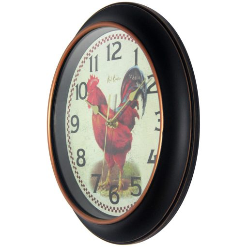 from left side red rooster black wall clock 12 inch