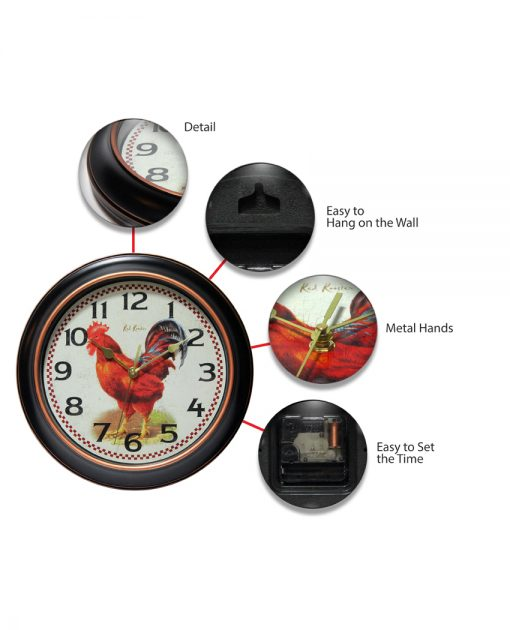 features of red rooster black wall clock 12 inch