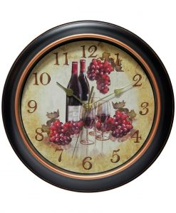 Wine Wall Clock Grapes kitchen