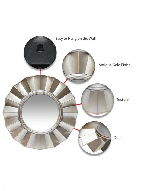 features of brussels gold wall mirror 20 inch round circular