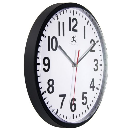 from left side pure black wall clock 13 inch
