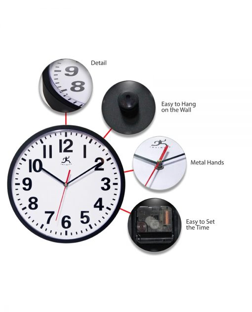 features of pure black wall clock